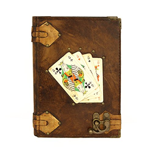 Playing Cards Queen Brown Large Leather Handmade Journal Diary Notebook Paper Book (Ref Queen compare prices)