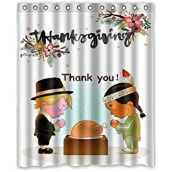 Vintage Design New Style Happy Thanksgiving Day Pumpkin Decor Polyester Bathroom Shower Curtain 60(W)x72(H)-Inch