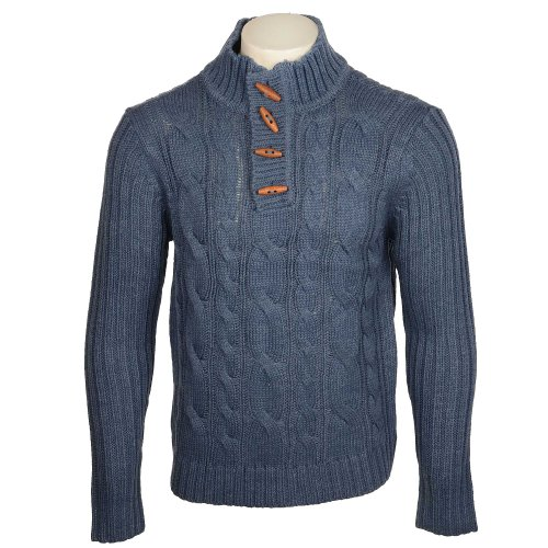 Fletcher & Lowe Men's Blue Toggle Button Funnel Neck Fleck Yarn Jumper in Size Medium