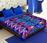 Story@Home Coral Collection Soft Printed Fleece Double Bed Blanket, Purple