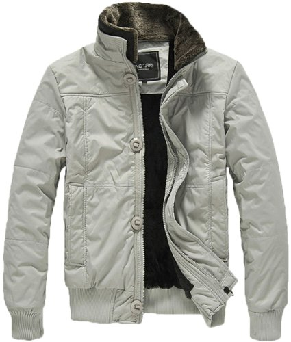 New style 6513 Men's Warm Winter Fashion Classic stand-up collar casual coats jackets outwear (Large, 6513LightGrey)