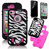 Rose Pink White Zebra Combo Hard Soft High Impact iPhone 4 4S Armor Case Skin Gel with free screen protector