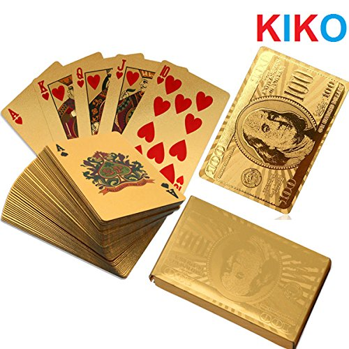 Kiko® 24K Gold Foil Plated Poker Playing Cards Deck Collection W / Box Us Dollar