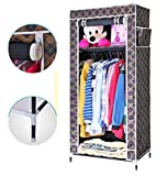 Evana 2.1 Feet Single Section Portable Dust & Water Proof Wardrobe Creative Printed Cabinet,Easy Installation Folding Wardrobe Cupboard Almirah Foldable Storage Rack Collapsible Cloths Organizer With Shelves Washable Cover ,Royal Black Gold Plaid