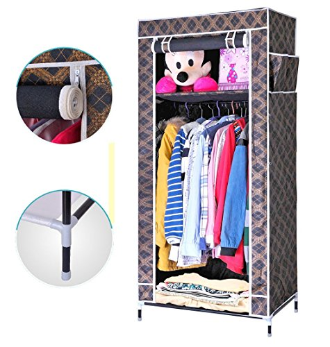 Evana 2.1 Feet Single Section Portable Dust & Water Proof Wardrobe Creative Printed Cabinet,Easy Installation Folding Wardrobe Cupboard Almirah Foldable Storage Rack Collapsible Cloths Organizer With Shelves Washable Cover ,Royal Black Gold Plaid  available at amazon for Rs.999