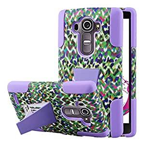 LG G4 Case, MPERO IMPACT X Series Dual Layered Tough Durable Shock Absorbing Silicone Polycarbonate Hybrid Kickstand Case for G4 [Perfect Fit & Precise Port Cut Outs] - Purple Rainbow Leopard