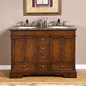"Bradford 48"" Bathroom Double Sink Cabinet Vanity Set Top Finish: Travertine Stone"