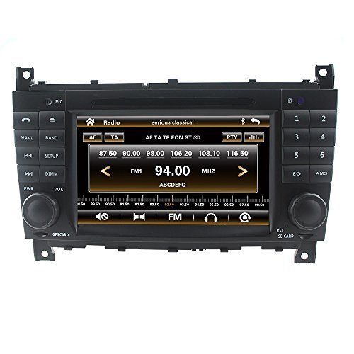 LIKECAR 7 Zoll Autoradio 2 DIN Multimedia Sat Navi GPS DVD Navigationssystem Touch Screen für Mercedes Benz C CLS CLC CLK Class W203 W209 W219 mit FM AM Radio Dual Zone Ipod MP3 MP4 Iphone Blueooth RDS USB SD Lenkradkontrolle Audio Video Stereo Deutsch menu 3G Unterstützung Kamera DVR TV
