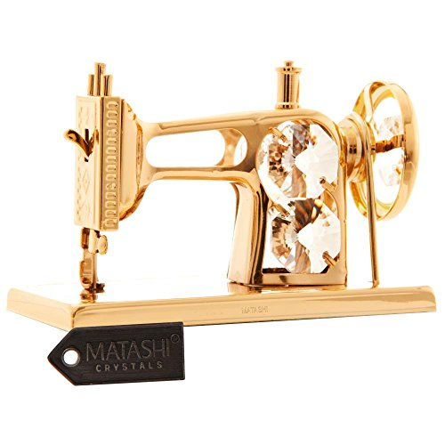 24K Gold Plated Crystal Studded Sewing Machine Ornament by Matashi