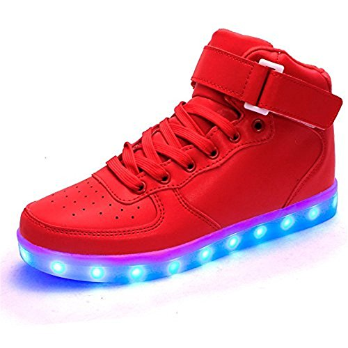 KicksKid Unisex Super Nova Men Women Kids LED Light Up Shoes Slip-On Loafers Kicks Fashion sneakers Red 44
