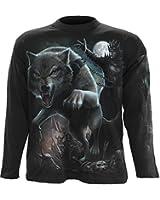 Spiral T-shirt à manches longues pour homme Motif Wolf Queen Noir