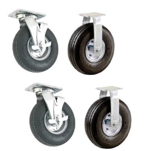 Set of 4 Pneumatic Wheel Casters with 10″ Air Tires 2 Swivel with Brakes 2 Rigid