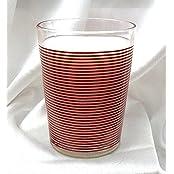 Yera Designo Printed Design Glass Tumbler, Milk Glass - Lines - (Pack Of 6)
