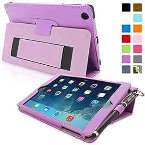 Snugg iPad Mini & Mini 2 Case - Smart Cover with Flip Stand & Lifetime Guarantee (Purple Leather) for Apple iPad Mini & Mini 2 with Retina