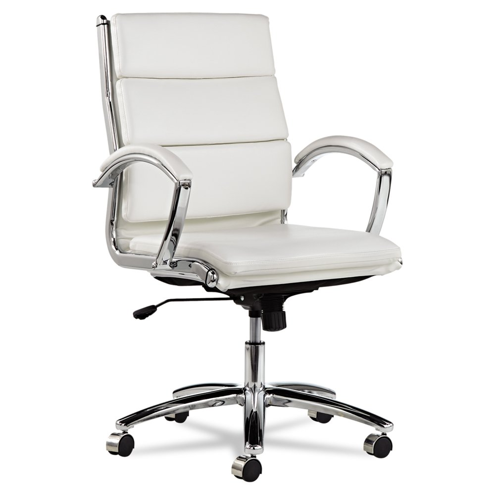 Alera Neratoli Mid-Back Swivel/Tilt Chair, White Faux Leather