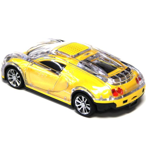 Iwoo Yellow Car Shape Speaker With Tf/Usb/Fm Radio Music Mp3 Player