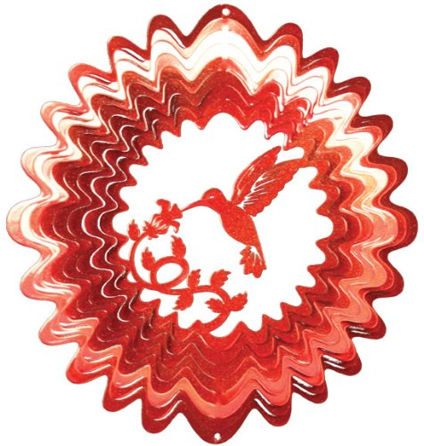 Red Hummingbird Wind Spinner 12 inch by Iron Stop