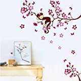 Asmi Collection PVC Wall Stickers Wall Decals Pink Branches Monkey