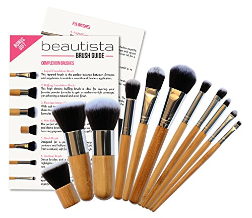 Details for ** 11 Piece Professional Makeup Brush Set with Premium Synthetic Hair and Natural Bamboo handles for Face, Cheeks and Eyes, plus includes a BONUS Complexion Beauty Blender!