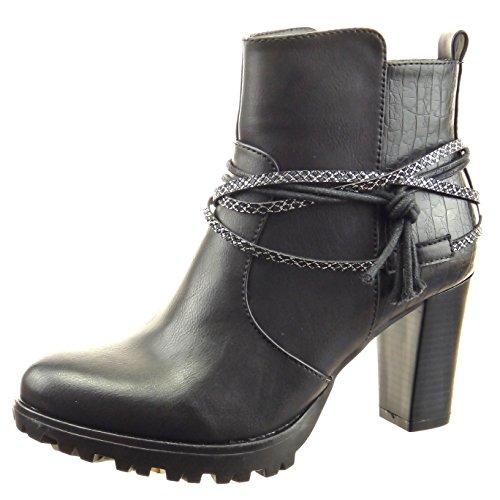 Sopily - Scarpe da Moda Stivaletti - Scarponcini low boots donna pelle di serpente multi-briglia corda Tacco a blocco tacco alto 8 CM - Nero FRF-4-F193 T 40