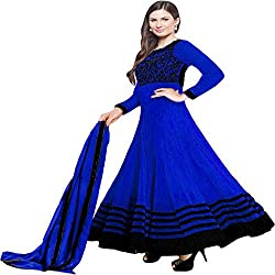 Shree Ashapura Creation Women`s Georgette Embroidered Semi-stitched Salwar Suit Dupatta Material(Blue Evlyn)