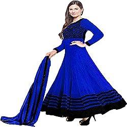 Prachi Silk Mills Women`s Georgette Embroidered Semi-stitched Salwar Suit Dupatta Material(Blue Evlyn)