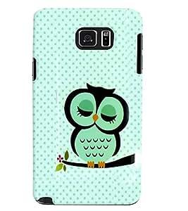 Fuson Premium Cute Owl Printed Hard Plastic Back Case Cover for Samsung Galaxy Note 5