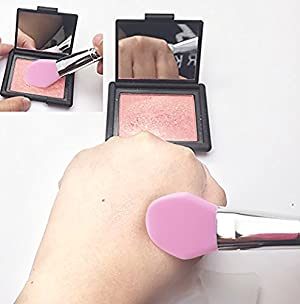 JJMG 8pcs Clear Silicone Makeup Brush Applicator Sponge Perfect for Eye Blush Lips BB CC Cream Foundation Concealer Blending Air Cushion Cosmetics Blender - Pink