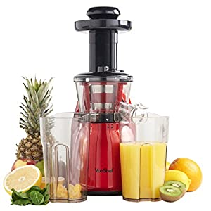 VonShef Professional Slow Masticating Juicer - Free 2 Year Warranty - Quiet 200W Motor, Highly Efficient Juice Extraction - Red