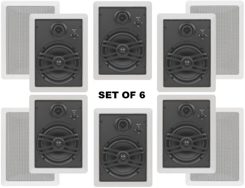 """Yamaha Natural Sound Custom Easy-To-Install In-Wall Flush Mount 3-Way 150 Watts Speaker (Set Of 6) With A 1"""" Swivel Titanium Dome Tweeter, 1-5/8"""" Swivel Aluminum Dome Midrange Driver & 6.5"""" Kevlar Cone Woofer For A Large Size Room Or 3 Smaller Rooms"""