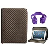 DMG Zippered Portfolio Cover Stand Case With Accessory Pockets For Lenovo IdeaTab A1000 Tablet (Textured Brown...