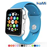 Apple Watch Band, Hami Silicone Band for Apple Watch 38mm Strap with Connector Adapter for I Watch Sports Buckle Bracelet - 38mm - Blue Image