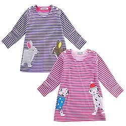 WangsCanis Girl Long Sleeve Shirt Cartoon Patwork Striped Dress Round Neck