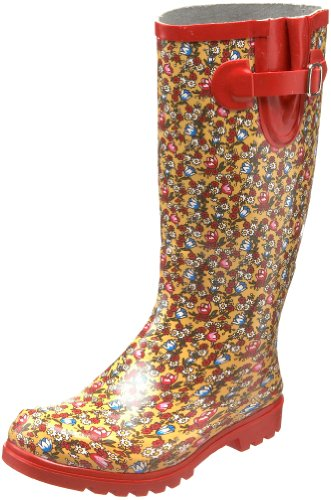 Beautiful Women's Rain Boots:Nomad Women's Puddles Boot,Red Flowers Fields,7 M US