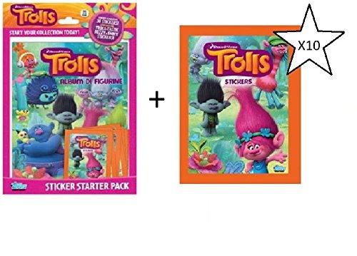 Topps Dreamworks Trolls BUNDLE - Sticker Starter Pack & Trolls Stickers X10 Packs (expédiés à partir du Royaume-Uni)
