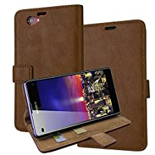 buy Z1 Mini Case, Sony Xperia Z1 Mini Cover Aomax® Wallet View Stand Premium Protective Leather Cover Case+ Hd Screen Protector For Sony Xperia Z1 Mini (Ikaisp Brown)