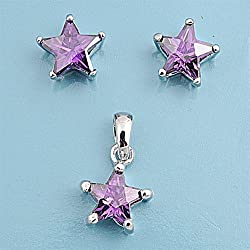 Sterling Silver Pendant and Earrings Set - Star Shape in Prong Set Amethyst CZ
