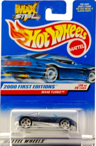 2000 - Mattel - Hot Wheels - MAX STEEL Series - First Editions - MX48 Turbo - Blue / Gray Interior - Convertible - #20 of 36 - Collector #080 - 5 Spoke Wheels - New - Out of Production - Rare - Limited Edition - Collectible - 1