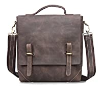 Amango Genuine Leather Messenger for Men Fit up 13'' Laptop Brown A3003