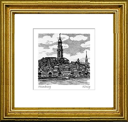Single-colored hand-crafted etching Hamburg, Landungsbrücken (Germany) by König in a gold frame behind a passe-partout, graphics, art design, art print