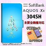 手帳型 ケース 304SH スマホ カバー AQUOS Xx アクオス ツリーイヤリング 青 nk-004s-304sh-dr633 の中古画像