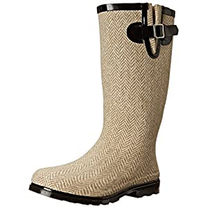 Puddles Textured Rubber Rain Boot, 8, Brown