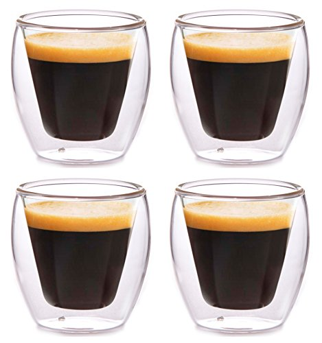 Clevercafé Milano 2 oz Double Wall Glass for Espresso or Spirits, Set of 4 (Keurig Coffee Paks compare prices)