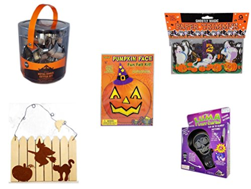 Halloween Fun Gift Bundle [5 piece] - Wilton Halloween Metal Cookie 18-Piece Cutter Set - Ghostly Magic Paper Trimmer 3.75 in x 9 ft. - Darice Pumpkin Face Fun Felt Kit - Witch - Halloween Witch, Pu