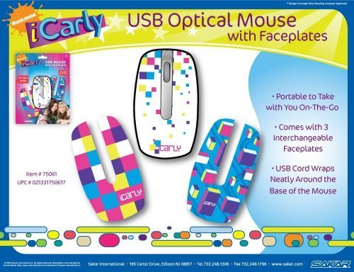 iCarly Nickelodeon Portable USB Mouse with 3 Interchangeable Face Plates - 1