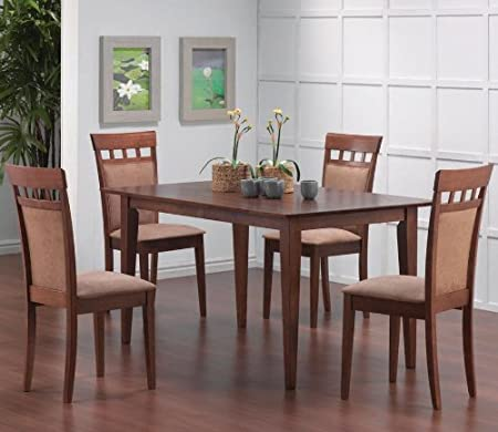5pcs Contemporary Walnut Finish Dining Table & 4 Chairs Set