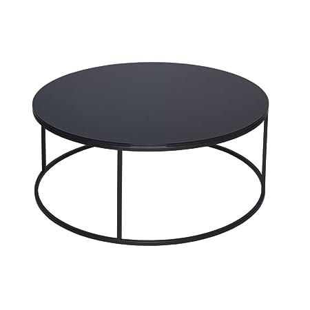 Gillmore Space Mesa de centro Circular de cristal negro y Negro Metal contemporáneo