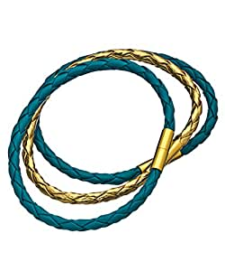 Bijoux Turquoise and Gold Braided Magnetic Bracelet Set: Blu Bijoux