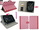 Emartbuy® Hot Pink Stylus + Universal Range Polka Dots Hot Pink / White Multi Angle Executive Folio Wallet Case Cover With Card Slots Suitable for Advent Vega Tegra Note 7 Inch Tablet