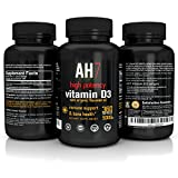 Vitamin D3 5000 IU 360 Softgels Extra Strength Vitamin D Supplement Organic Flaxseed Oil Omega 3 by AH7 Best for Healthy Bones, Immune System, Back Pain, Insulin Resistance, Cholesterol, Made in USA